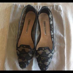 Manolo Blahnik Lace Flat Slippers